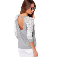 New Arrive Fashion Lace Backless Sexy Women T shirt Casual Long Sleeve Patchwork Plus Size Ladies T-shirt Brands Gray Tops 30278