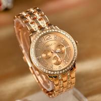 Free shipping Retail Diamond Steel Band Wristwatch 18K gold-plated Women Watch 2015 design quartz watch