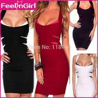 Fashion Women Clubwear 4 Colors Sleeveless Mini Vestidos Patchwork Bodycon Bandage Celeb Dresses American Style Sexy Dress 3