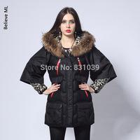 FREE SHIPPING 2014 Winter European style Star section spliced leopard raccoon fur collar Cape big code long down coats jacket