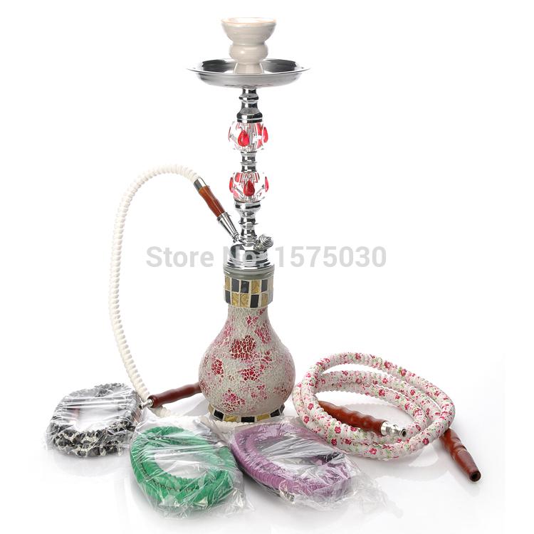 Free shipping Top Brands beautiful vase single pipe hookah crystal decorated shisha exclusive design pink bar