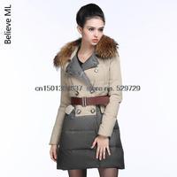 Free shipping European  stitching Slim true high-end fashion ladies Nagymaros collar down jacket women winter jacket coat