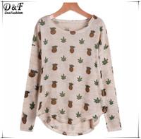Womens Tops Fashion Brand European 2015 New Desigual Clothing Feminines Casual Apricot Long Sleeve Pineapple Print T-Shirt