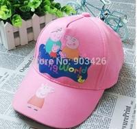 Free Shipping!350pcs/Lot !Peppa Pig Girls Baseball Caps Cartoon Kids Visors Berets Cap Gift Toys G071 Wholesale