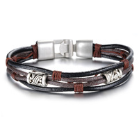FAshion Mens Wrap Multilayer Bracelet & Bangles brown rope chian bracelet new year's gift 855
