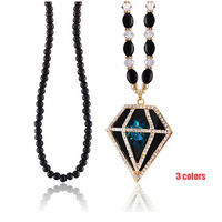 New 2015 Fashion Jewelry Hollow Triangle Pendant Necklace Women Necklaces Long Sweater Chain Braided Beads