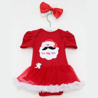 2014 New baby girl dress summer santa claus short sleeve lace bebe dress romper + bowknot hairband kids Christmas clothing set