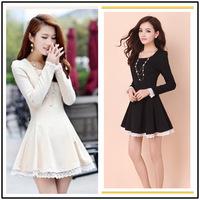 2014 Spring Autumn Fashion Long-sleeve Lace Dress Casual Sweet Princess Dress Cotton Puff Sleeve Cute Dresses M L XL G1407