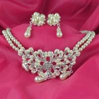 2014 Vintage women  silver plated rhinstone wedding jewelry set /necklace &earrings  G182