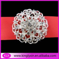 Free Shipping ! 8pcs/lot 37mm silverrhinestone brooch pin for wedding invitation card
