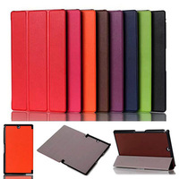 100pcs/lot Slim 3-Folding Stand Leather Case Protactive Skin Cover For Sony Xperia Z3 Tablet Compact SGP621 641 611 Tablet PC