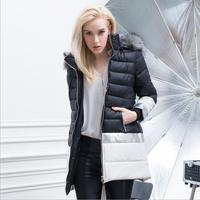 Winter Jacket Women Solid Zipper Hooded Natural Color Slim Thick Fur  Long Winter Coat Women Parka Jackets Down & Parkas 2015