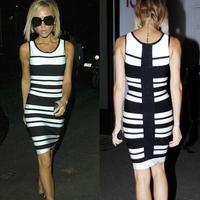 2015 Spring New Arrival European Brand HL Bandage Dress Elegant Slim Black White Striped Dress