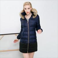 Jacket Parkas For Women Winter Slim Long Pockets Fur Zipper Solid Abrigos Mujer 2015 Women'S Winter Coat Down & Parkas Women