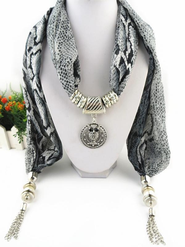 Fashion jewelry scarf Owl Pendant Charm Tassel Free shipping(China (Mainland))