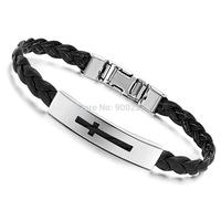 Free Shipping Fashion jewelry Stainless Steel Bracelet Buckle Black Brown Belt Single Cross  Leather Bracelets Bangles