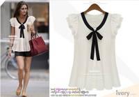 Fashionable chiffon shirt Women's ruffle sleeve tops summer lady's all-match shirt Free Shipping 1031 AN