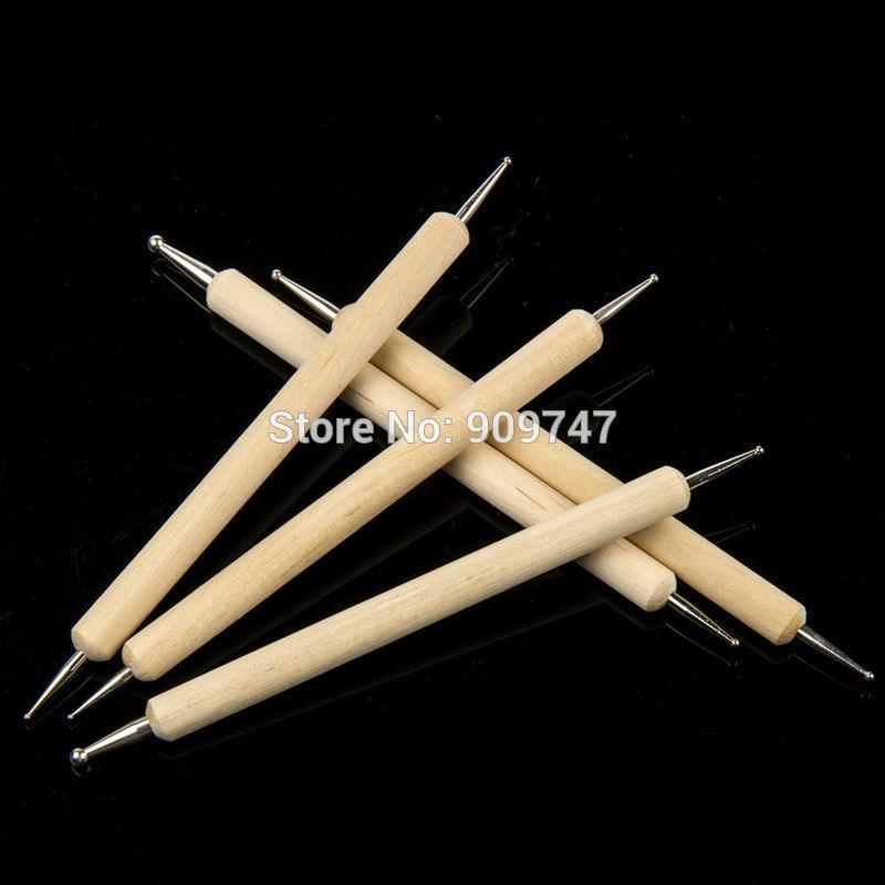 Кисточки для рисования на ногтях SMD 5pcs/2 /dotting DIY wood nail dotting pen 5 pcs double ended nail dotting pens