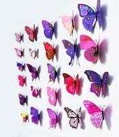 7colors 12Pcs/Lot Vinyl 3D DIY Butterflies For Wall Art Decal Removable Home Decoration DIY Beautiful Wall Stciker
