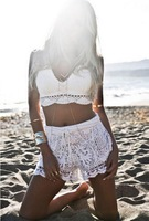 Sexy Beach Bikini Crochet Top Women Vintage Handmade cotton knitted Crop top hippie White Black Bralet bra bustier cami tank