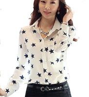 From  stars  your spring  summer women long-sleeved shirt Slim chiffon shirt Pentagram