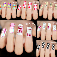 30Sheets Optional Fashion New 2015 Grid Series Water Transfer Full Nail Art Sticker Wraps Polish Decals Accessory XF1518-1544