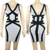 2015 Spring New Arrival European Brand HL Bandage Dress Spaghetti Strap Sexy Elegant Prom Dress