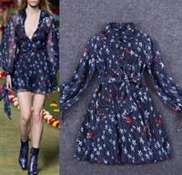 Freeship New Dress 2015 Spring Women Runway Fashion Star Print Long Sleeve Dress Ladies Dark Blue Color Casual Silk Print Dress