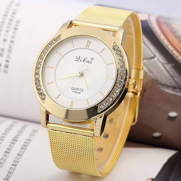 2015 nova Lilai marca mulheres da moda vestido dourado relógios cristal de diamante pulseira de aço malha banda pedrinhas de quartzo de pulso(China (Mainland))