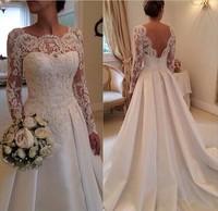 2015 Wedding Dress New Model Long Sleeves With Satin Skirt Wedding Gowns Amanda Novias