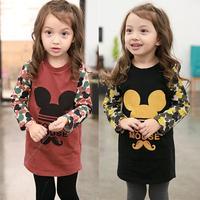 children's clothing mickey thickening girls long sleeve fleece 2014 autumn winter princess dresses 5pcs/lots