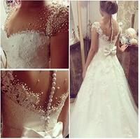 Cap Sleeves Full Pearls Wedding Dress With Nice Back Customer Order