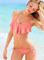 2015 New Fashion Women Ruffle Sexy Bikini Set Summer String Low Waist Sexy Beach Bikini Swimsuit Bathing Suit Swimwear