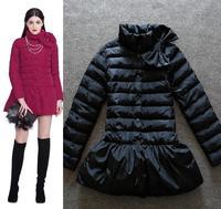 Best Quality!New Fashion Winter Parka Down Coat  Jacket 2014 Women Bow Tie Deco Warm Duck Down Outerwear Warm Parka Outerwear