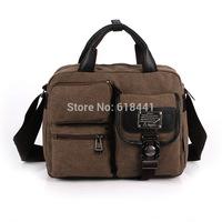 multi-pocket canvas messenger bag men casual canvas shoulder bag retro fashion handbag men canvas briefcase