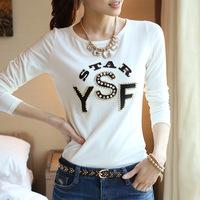 S-XXXL,2014 Women Autumn Cotton T-shirt Ladies Casual Slim Long Sleeve Tshirt Fashion Beading Basic T Shirts For Young Girl YA02