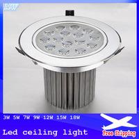 10pcs/lot 3W 5W 7W 9W 12W 15W 18W LED ceiling recessed downlight 220V light lamp Free shipping
