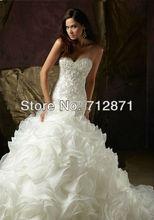 2013 Venta caliente vestido de novia sirena elegante del partido del vestido Organza moldeado Wedding Chapel(China (Mainland))