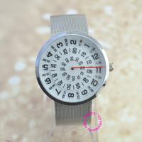 fashion men women unisex funnny arabic number white turntable dial Quartz wrist Watch lady girl 2015 new Wristwatch hour clock