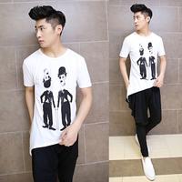 2014 new wave of male fashion T-shirt Slim Korean men short sleeve T-shirt male personality tide mens t shirt