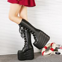 Hot 2014 winter women's fashion 16cm ultra high heel platform boots cosplay dress boots queen boots big-head shoe barreled boots