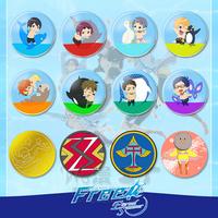 Hot  Free! Haruka Nanase Makoto Tachibana Rin Matsuoka 12 set Buttons Cosplay Anime Costumes Products Free Shipping