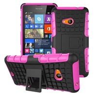 High quality Hybird antiskid tyre heavy duty silicone shockproof protective case with stand for Nokia Lumia 535, free ship