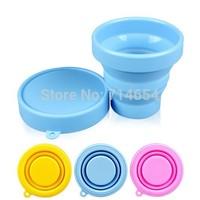 100pcs Eco-friendly Silicone Folding Cup 170ML Portable Travel Outdoor Mug Folding Water Glass Telescopic Mug Travel Cup