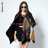 Free shipping European and American stars catwalk models with models wild plaid cashmere shawl cape coat ladies coat