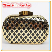 2015 New Brand Design Women Evening Bag Fashion PU Leather Plaid Hollow Metal Case Day Clutches. Party Mini Handbag Shoulder Bag