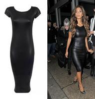 2014 European and American women's fashion PU leather strap dress sense Short Sleeve sexy tight dress female slim dress