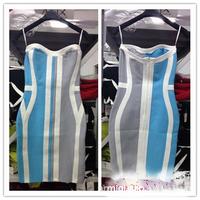 2015 Spring New Arrival Spaghetti Strap Celebrity HL Bandage Dress Elegant Slim Party Dresses