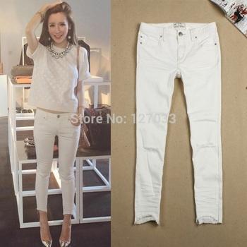 Разрез улица съемки белый джинсы женщины