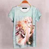 New Fashion Casual Women Elf 3D Printed T shirt Blusas Summer Short Sleeve Modal Elastic Cotton T-shirt Tops Plus Size